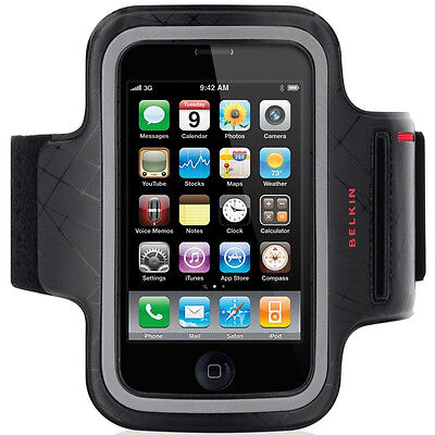 Belkin DualFit iPhone 4S/4 Sport Armband Running Case/Cover Black/Red F8Z459ea