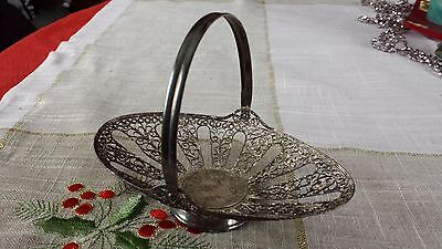 Vintage Antique Russian Silver Plated Filigree Basket