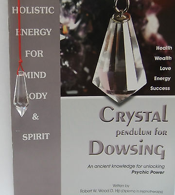 Crystal Dowsing pendulum on a Red Cord + Instruction Book Great value Top Seller