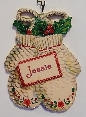PERSONALIZED! WHITE MITTENS w/ HOLLY  ~ CHRISTMAS Ornament ~ Vtg Card Img