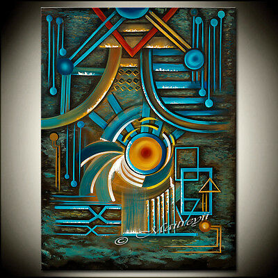 ORIGINAL Turquoise LARGE ABSTRACT Painting Modern Art geometrical Canvas Art