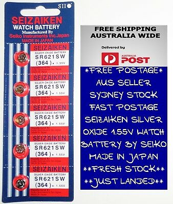 5 PCS SEIZAIKEN SR621SW / 364 1.55V  Silver Oxide Battery for Watch By SEIKO