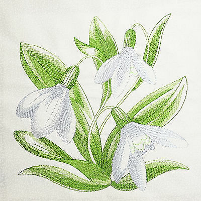 Embroidered Cushion Panel Quilt Block SNOWDROP 100% Cotton White Tone Fabric