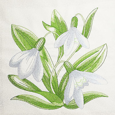 SNOWDROP Fabric Embroidered Cushion Panel Quilt Block 100% Cotton White Tone