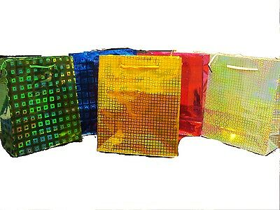 Pack Of 5 Foil holographic Gift Bags Birthday  Bags Christmas Xmas Party Bags
