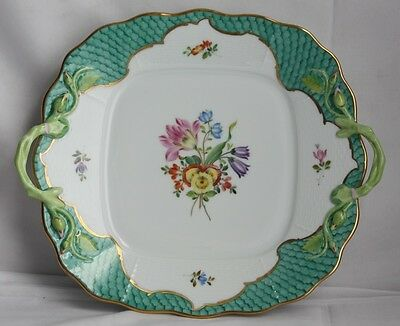 Herend printemps cake plate platter mint green fish scale border 430 trunk show