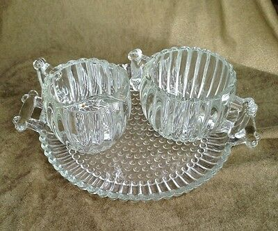 Elegant 1950's Jeannette Glass National Closed Handle Sugar & Creamer  With Tray