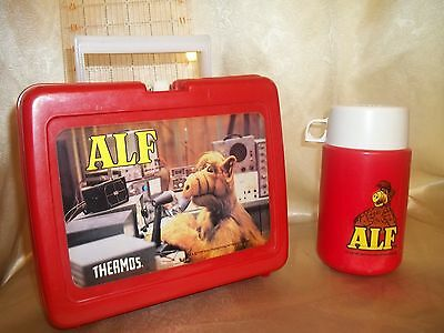 Vintage ALF Plastic Lunchbox & Thermos Set 1987 Alien Productions Very Cool Cats