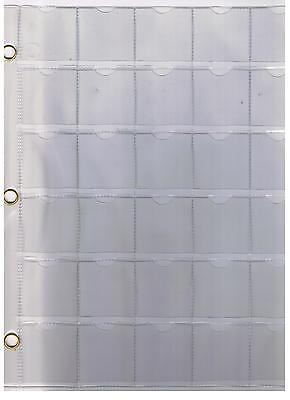 """30 Pocket Clear Coin Sheet Album Page Fits 1 1/2"""" X 1 1/2"""" Coin Holder 3  Rings"""