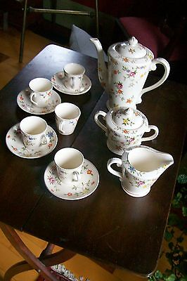 Lovely Japanese Porcelain Coffee Set, Hand Painted, Deme Cups/Saucers, Crm & Sug