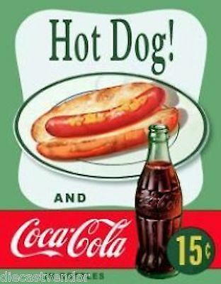 Coke Coca Cola Soda Pop Hot Dogs Cold Drinks Sold Tin Sign Wall Décor #1048