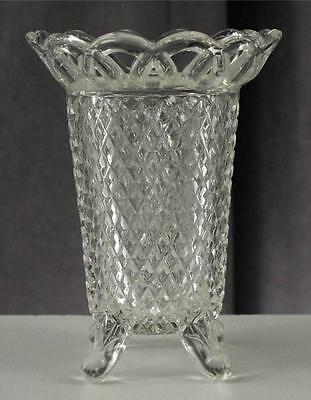 """Vintage Imperial Glass Clear Four Footed Flower Vase Genie Pattern 5"""" Tall"""