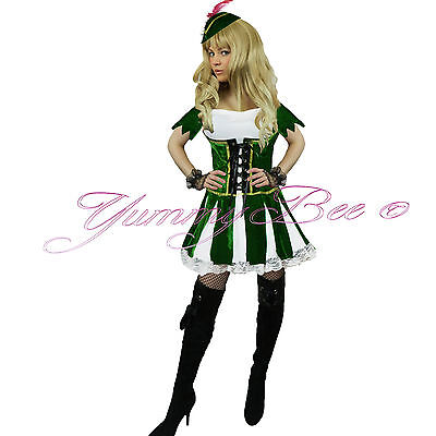Fancy Dress Costume Robin Hood Womens Maid Medieval Adult Book Plus Size 6-18 UK