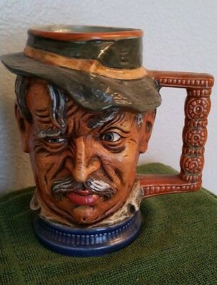 Vintage Capodimonte Italy Ceramic Character Face Mug Tankard Stein Cup Signed