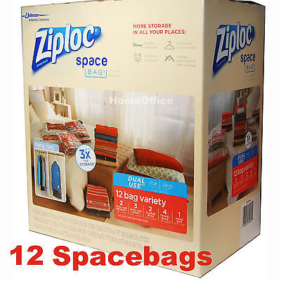 12 Combination Pack Space Saving Storage SpaceBags Vaccum / Roll Bags System