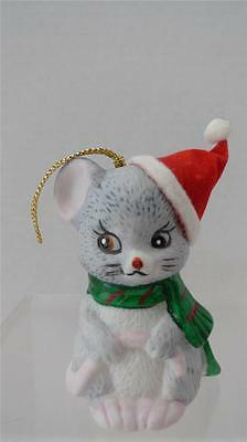 """JSNY Mouse Ornament Bell Vintage 3"""" High Gold Cord Red Flocked Hat Taiwan Sweet!"""