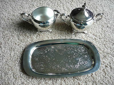 Wm. Rogers Silverplate Creamer & Sugar With Tray