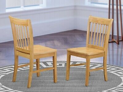 SET OF 2 NORFOLK DINETTE KITCHEN DINING CHAIRS WITH WOOD SEAT IN OAK
