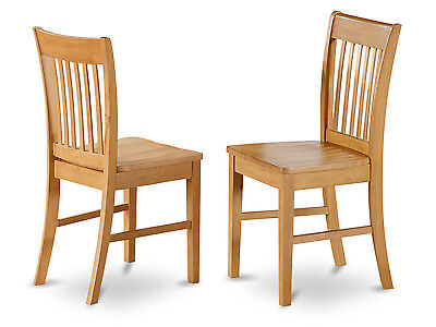 SET OF 6 NORFOLK DINETTE KITCHEN DINING CHAIRS WITH WOOD SEAT IN OAK