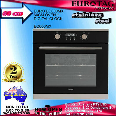 EUROTAG 60cm Electric Built in Wall Oven-Fan-Forced Grill Stainless Steel $save$