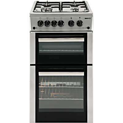Beko BDVG592S 50cm Double Oven Gas Cooker with 4 Hotplate Burners in Silver New