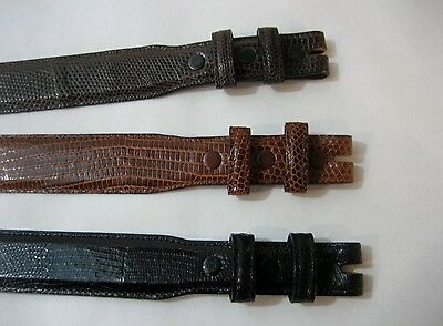 """Genuine lizard belt size's 26 to 46. 1-1/4 tapered to 1"""", for 1"""" buckle, U.S.A."""