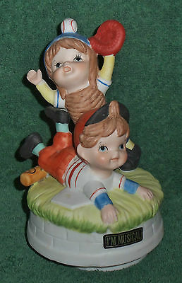 Fine Porcelain Flambro Wind Up Music Box Baseball Take Me Out To The Ball Game
