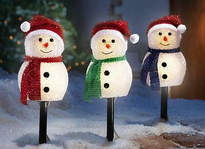 3 Pc Christmas Holiday Snowman Outdoor Lighted Pathway Marker Stake Set