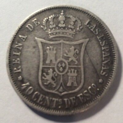 1866 Queen Isabel 40 Centavos Silver Collectible Coin