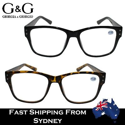 Mens Ladies Wayfarer Magnifying Reading Glasses Nerdy Costume +0.0 1.0 1.5 ~ 3.5