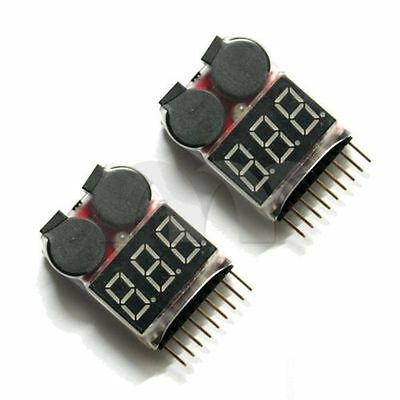 2x 2in1 Indicator 1s-8s RC Lipo Battery voltage Tester low voltage Buzzer Alarm