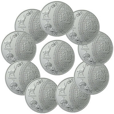 Lot of 10 - 2014 Canada 1 Troy oz. .9999 Silver Five Blessings $5 Coin SKU33729