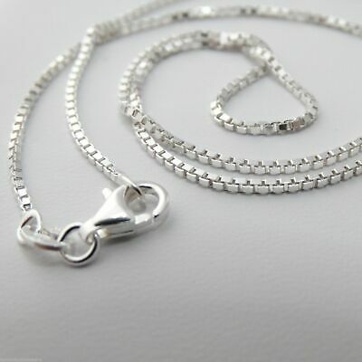"Sterling Silver 1.2mm BOX Chain Necklace 925 Italy 16"", 18"", 20"", 22"", 24"" NEW"
