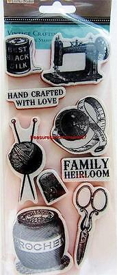 TPC Studio VINTAGE CRAFTING Rubber Cling Stamps Sewing Machine, Crochet, Thimble