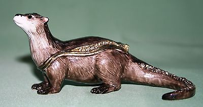 OTTER TRINKET BOX, Figurine, Gift, Ornament, Collectable with Crystals WILDLIFE