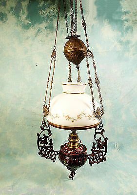 Antique Majolica Red Flowers hanging Weighted Oil lamp Gaudard France