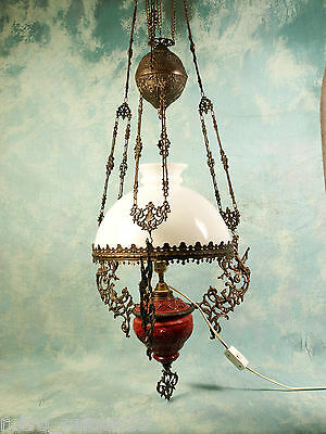 Antique Majolica hanging Weighted Oil electrified lamp cherubs