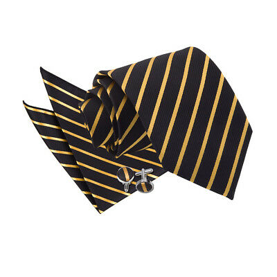 New DQT Single Stripe Men's Tie, Hanky & Cufflinks 3 pc. Set - Black & Gold