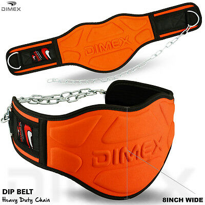 "Dipping Belt Body Building Weight Lifting Dip 8"" Wide Chain Exercise Gym"
