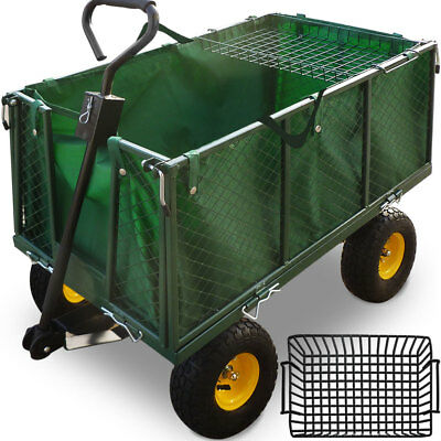 Spacious Garden Trolley Log Waste Trailer Cart Wagon Outdoor Tipping Dump Truck