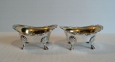 FABULOUS PAIR of ANTIQUE STERLING SILVER MASTER SALT CELLARS GILT INTERIORS