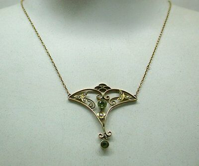 Beautiful Art Nouveau 9ct Gold Peridot and Pearl Necklace