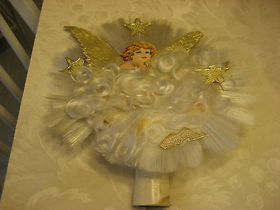 LATE 1800S MADE IN GERMANY SPUN GLASS WITH VICTORIAN ANGEL AND STARS TREE TOPPER
