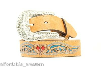 Brown Youth ~WING HEART~ WESTERN BELT Leather Silver Buckle Cowgirl N44230 14