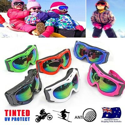 Adult & Kid tinted motocross Ski Snow goggles antifog UV protection MX dirt bike
