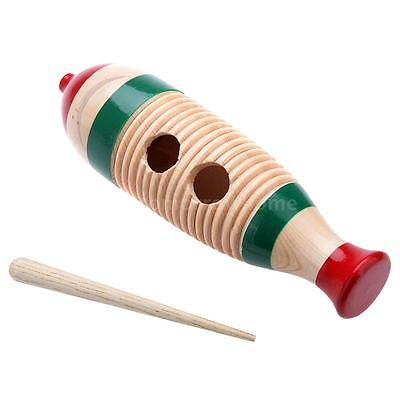 Wooden Guiro Fish-Shaped Colorful Kid Children Toy Percussion Instrument