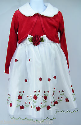 Youngland Formal Christmas Holiday Faux Fur Jacket Red Flowered Dress 3 PC Set