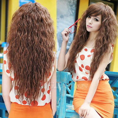 New Womens Fashion Sexy long Full Curly Wavy Hair Wigs Cosplay Party