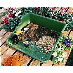 Garden Plastic Potting Plant Tray - Tidy Garden or Greenhouse  - Green