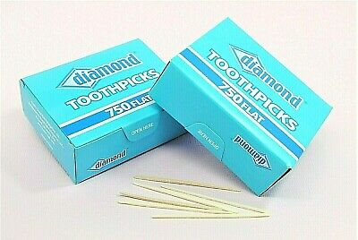 750 Flat Wood Toothpicks, Diamond Brand || Party Supply, Oral Care, Craft Needs